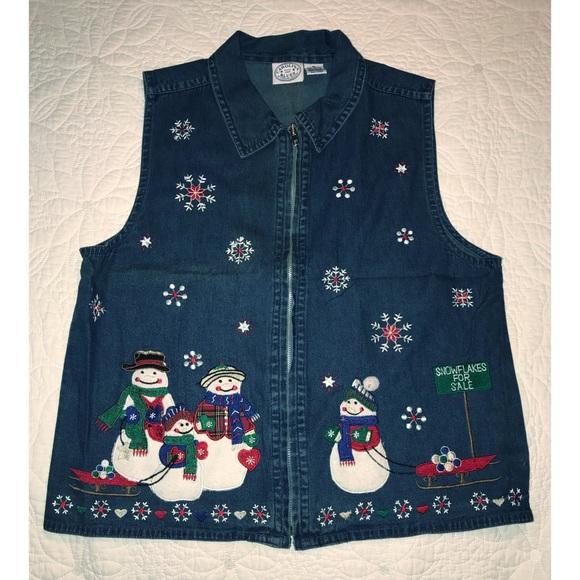 Jackets & Blazers - Denim Christmas Vest